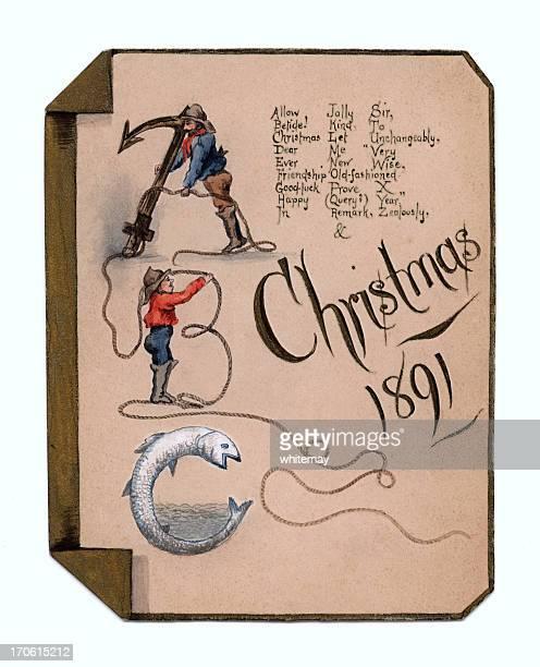 Victorian watercolour Christmas card