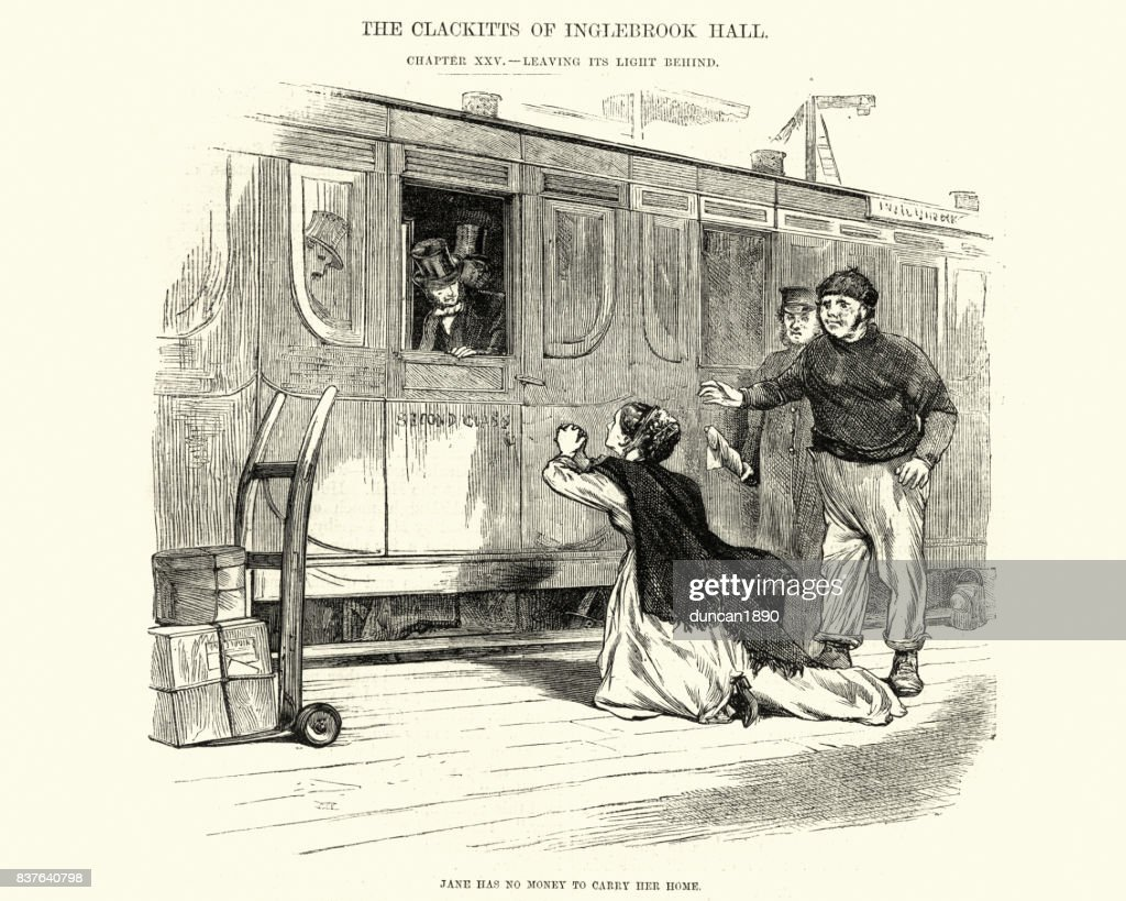 Victorian Woman Begging For Money For A Train Ticket stock