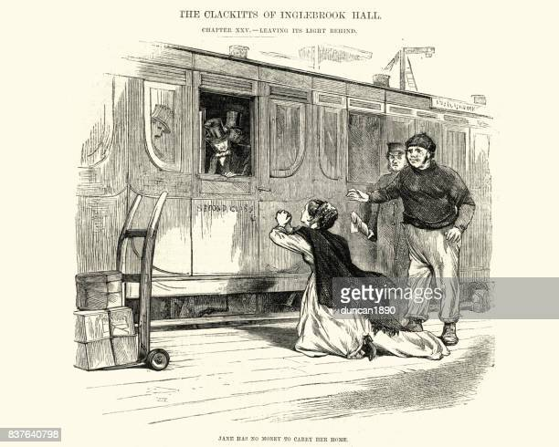 Victorian woman begging for money for a train ticket