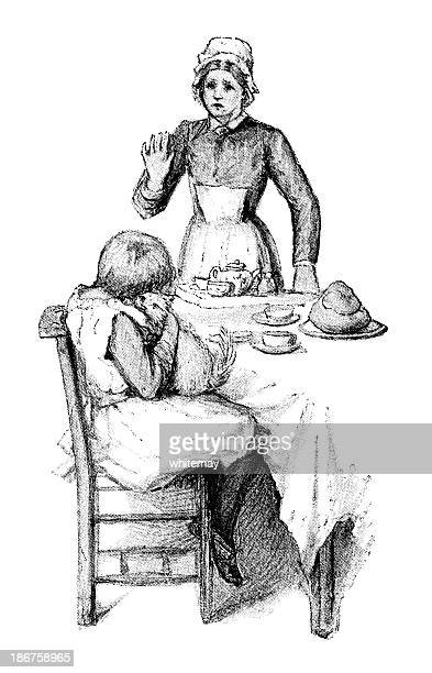 Victorian woman, child, cat and the tea-table