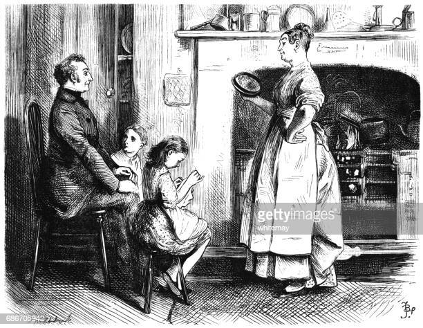 Victorian woman cooking and chatting in her kitchen