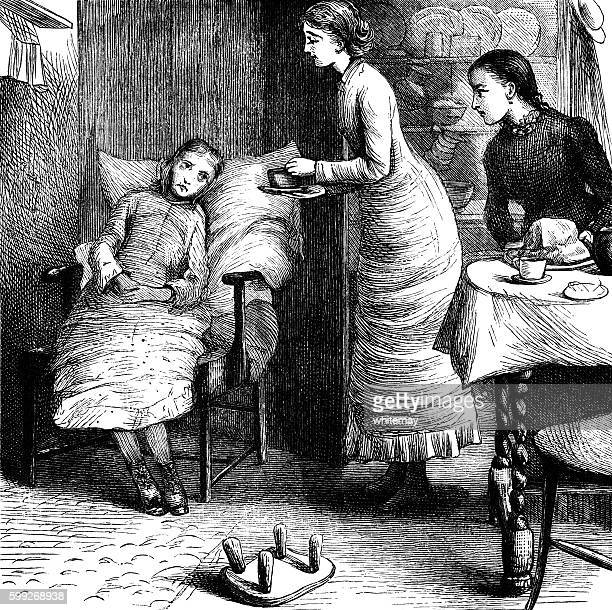 Victorian woman giving tea to an invalid girl