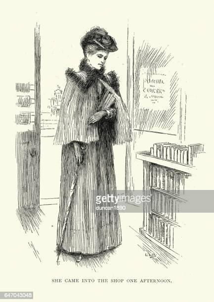ilustrações, clipart, desenhos animados e ícones de mulher vitoriana em uma loja de livros - livraria