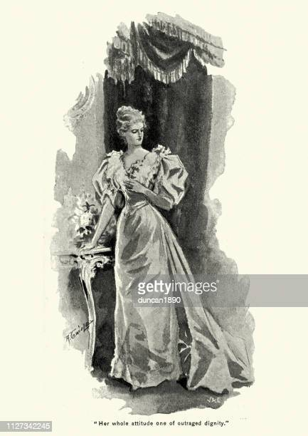 victorian woman in an evening gown, 1890s, 19th century - evening gown stock illustrations