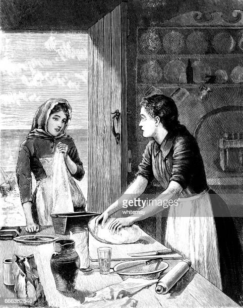 victorian woman kneading dough - pastry dough stock illustrations, clip art, cartoons, & icons