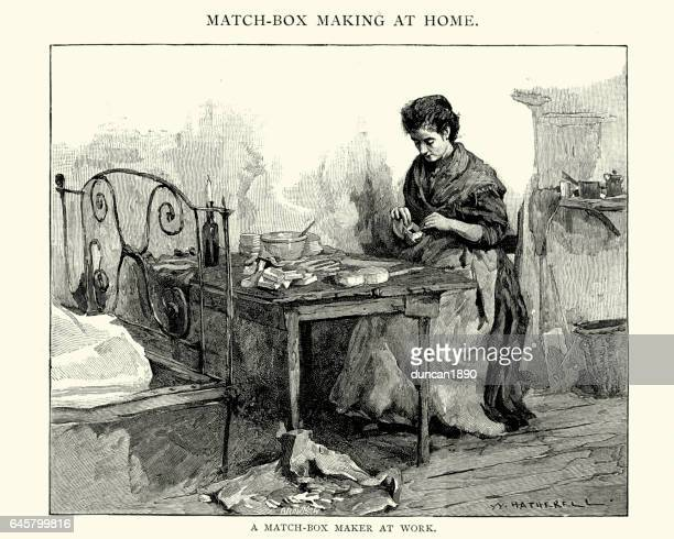 Victorian woman making match boxes, 19th Century