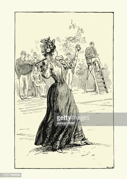 victorian woman playing a game of tennis, 19th century - tennis player stock illustrations