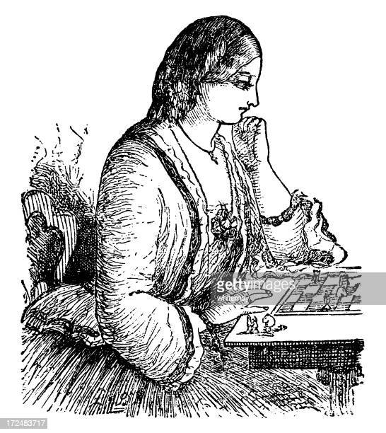 ilustraciones, imágenes clip art, dibujos animados e iconos de stock de victorian mujer jugando al ajedrez - tablero de ajedrez