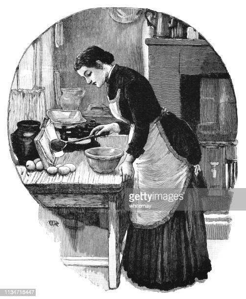 彼女は台所で調理するようにレシピの本を読んでビクトリア朝の女性 - 主婦業点のイラスト素材/クリップアート素材/マンガ素材/アイコン素材
