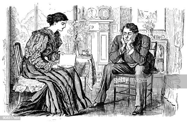 ヴィクトリア朝の女性彼女の夫間読んで座っているし、考えています。 - 退屈点のイラスト素材/クリップアート素材/マンガ素材/アイコン素材