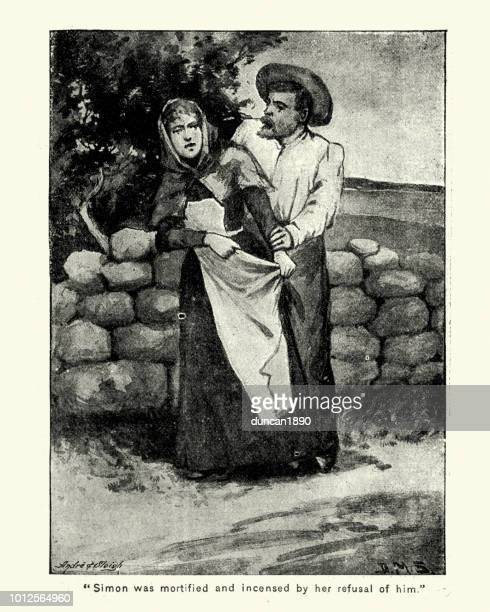 victorian woman refusing a young man, 1890s - sexual harassment stock illustrations, clip art, cartoons, & icons
