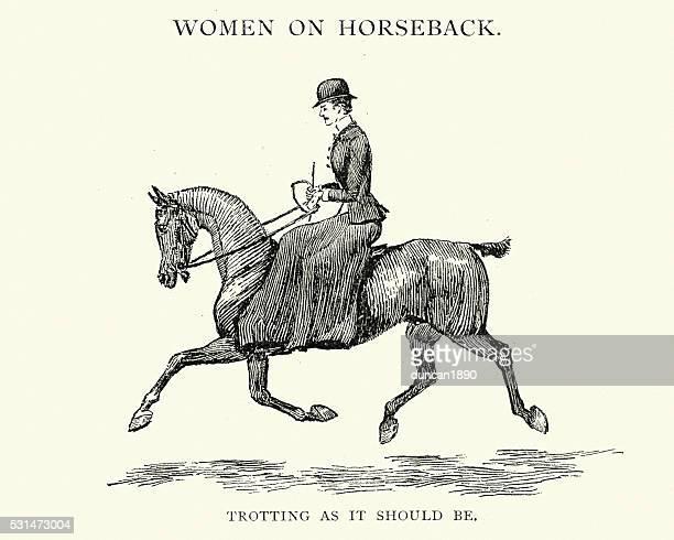 victorian woman riding a horse sidesaddle - horseback riding stock illustrations, clip art, cartoons, & icons