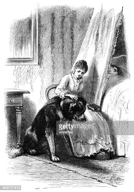 ilustraciones, imágenes clip art, dibujos animados e iconos de stock de victoriana mujer acariciando un perro grande de la montaña - gracias por su atencion