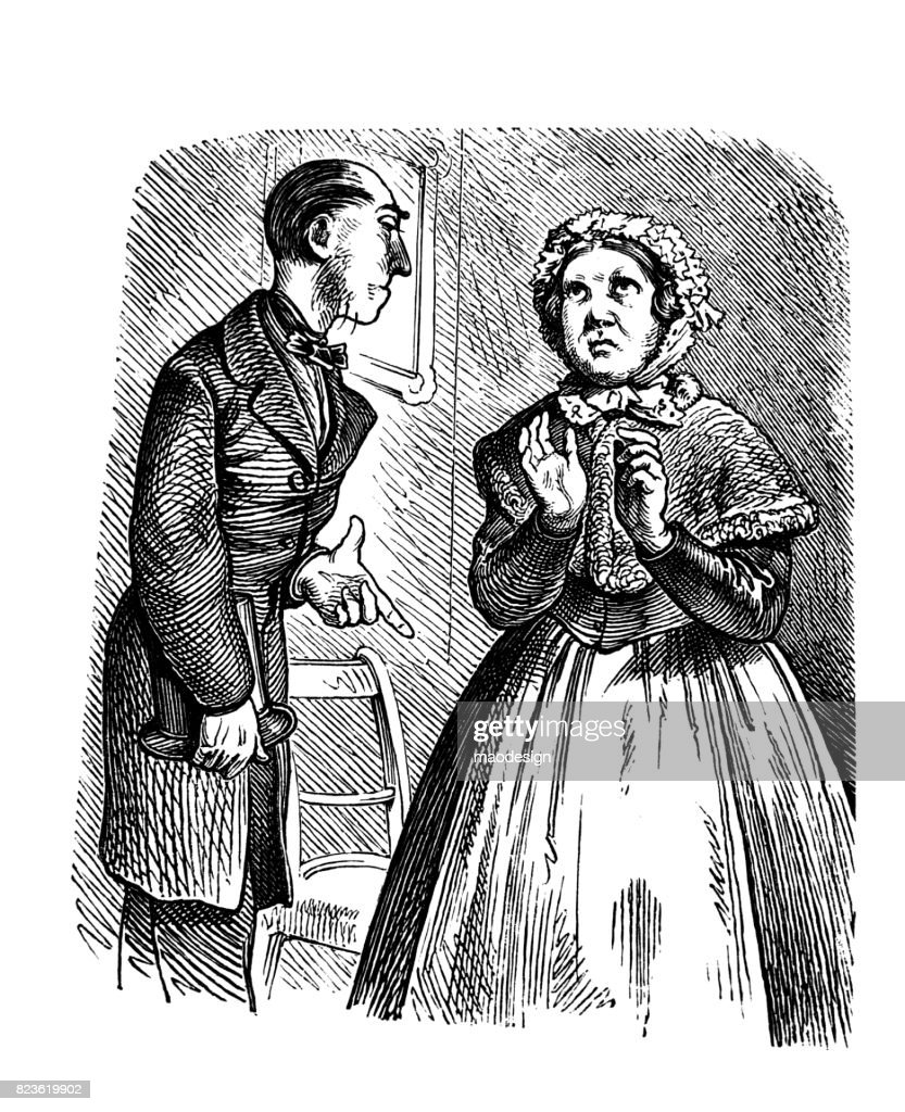 Victorian Woman Talking With A Senior Man Stock Illustration Getty