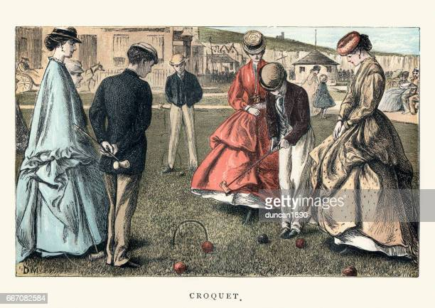 victorian women and men playing croquet. 19th century - archival stock illustrations, clip art, cartoons, & icons