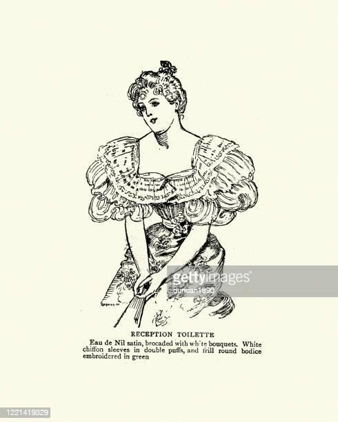 victorian womens fashion, 1890s, reception toilette dress - en búsqueda stock illustrations