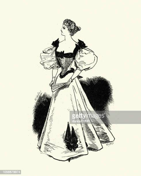 victorian womens fashions, 1890s, evening dress, late 19th century - evening gown stock illustrations