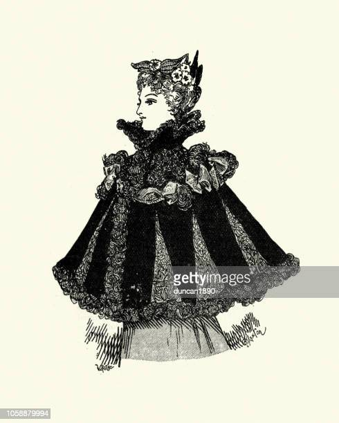 victorian womens fashions, 1890s, shawl cloak, late 19th century - cape garment stock illustrations