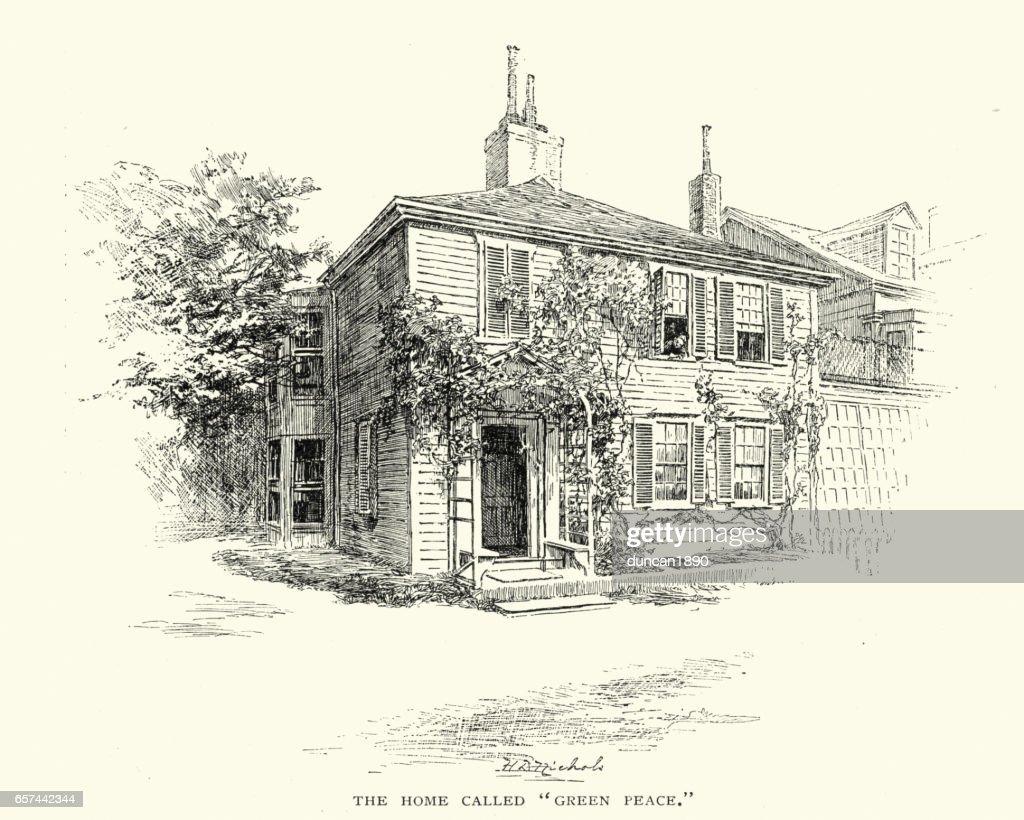 Victorian wood clad house : stock illustration