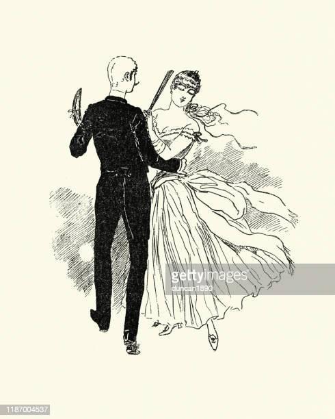ilustraciones, imágenes clip art, dibujos animados e iconos de stock de joven pareja victoriana bailando, 1880s, 19th century - bailar un vals