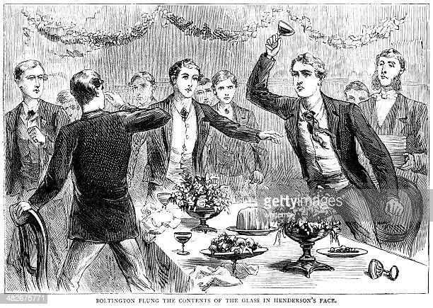 victorian youths arguing at the dinner table - 1881 illustration - the past stock illustrations