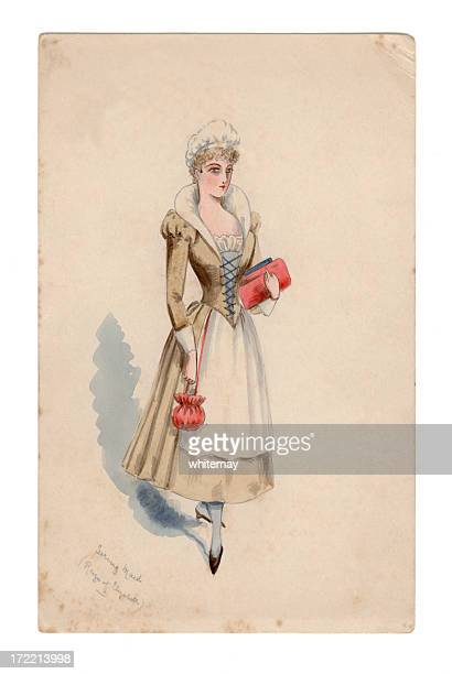 victorian/edwardian design for costume ball: elizabethan serving maid - en búsqueda stock illustrations