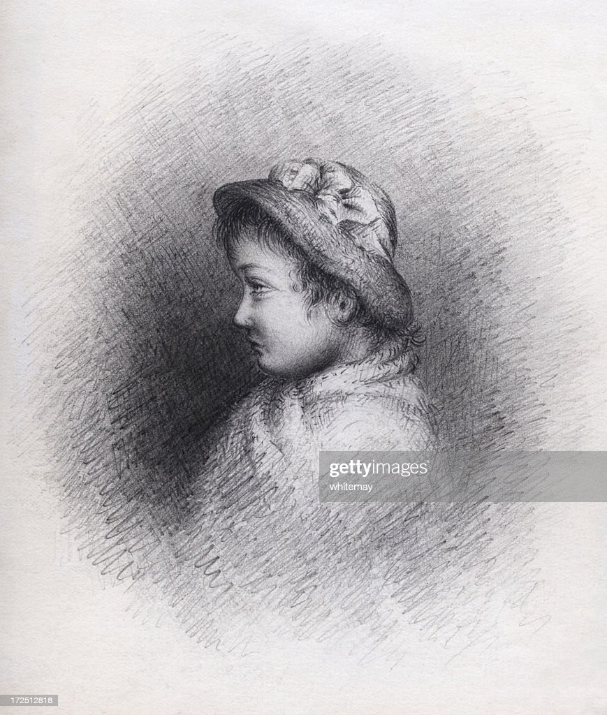 Victorian edwardian pencil drawing of a girl stock illustration