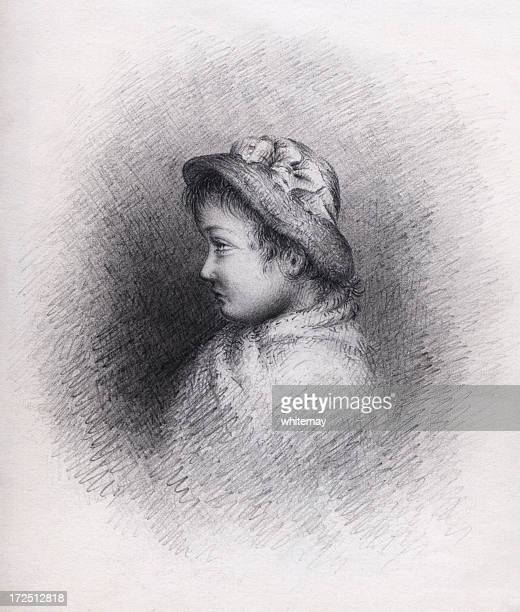victorian/edwardian pencil drawing of a girl - sunday best stock illustrations, clip art, cartoons, & icons