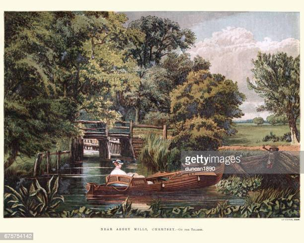 victorians boating on the thames, abbey mills, chertsey, 1870 - surrey england stock illustrations