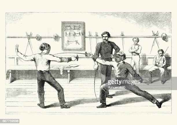 ilustrações de stock, clip art, desenhos animados e ícones de victorians boys learning the sport of fencing - luta de espadas