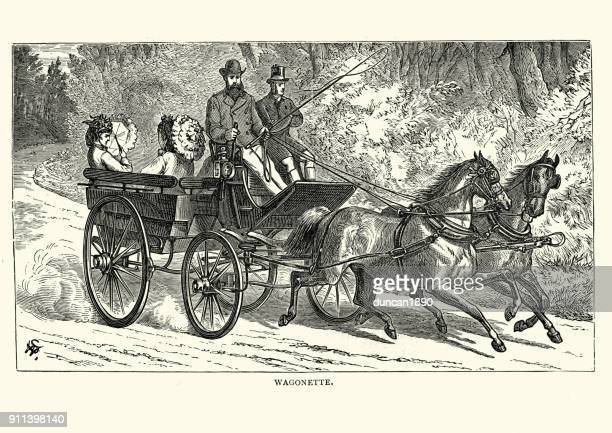 victorians riding in a wagonette - horse cart stock illustrations, clip art, cartoons, & icons