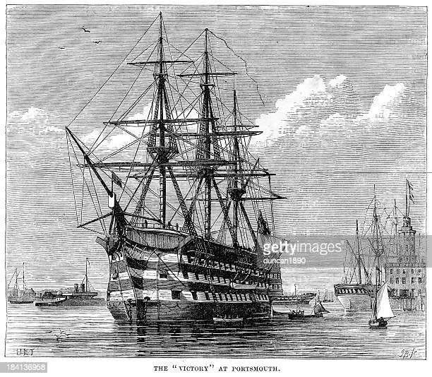 hms victory at portsmouth - 19th century stock illustrations, clip art, cartoons, & icons