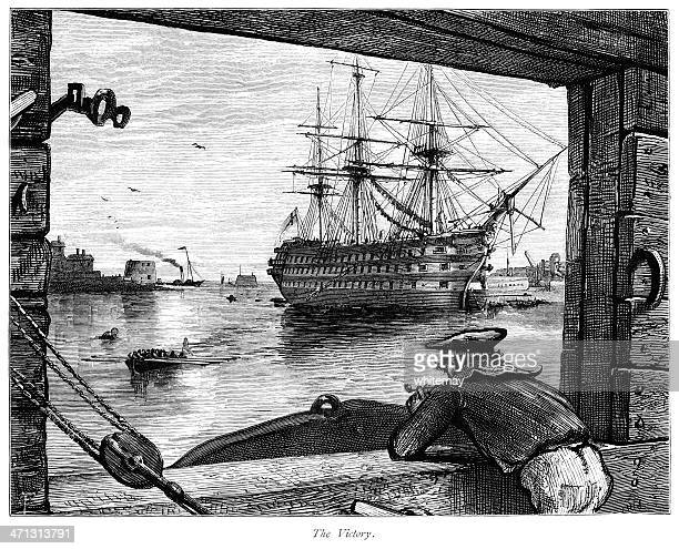 HMS Victory at Portsmouth (Victorian engraving)