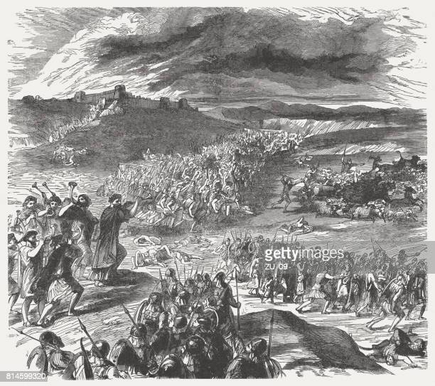 victory over the midianites (numbers 31), wood engraving, published 1886 - battlefield stock illustrations, clip art, cartoons, & icons