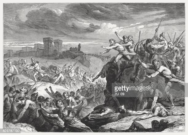 victory over the philestines (1 samuel 14, 31), published 1886 - battlefield stock illustrations, clip art, cartoons, & icons