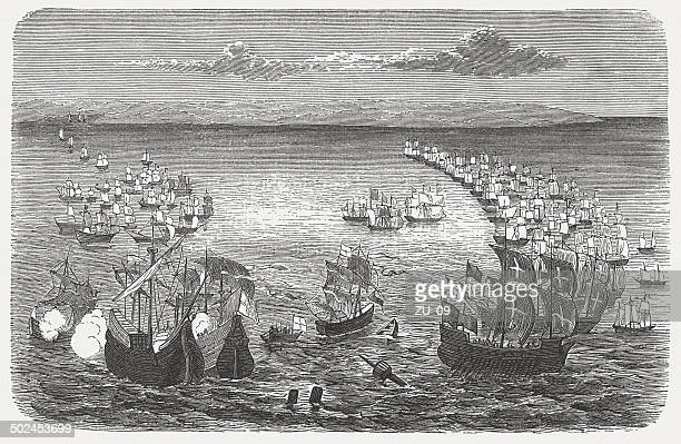 victory over the spanish armada by sir francis drake, 1588 - spanish culture stock illustrations