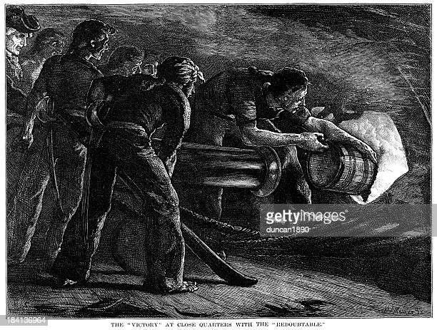 illustrations, cliparts, dessins animés et icônes de hms victory de gunner le en action - guerres napoléoniennes