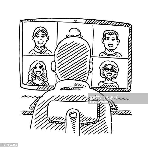 video chat man sitting in front of monitor drawing - quarantine clip art stock illustrations