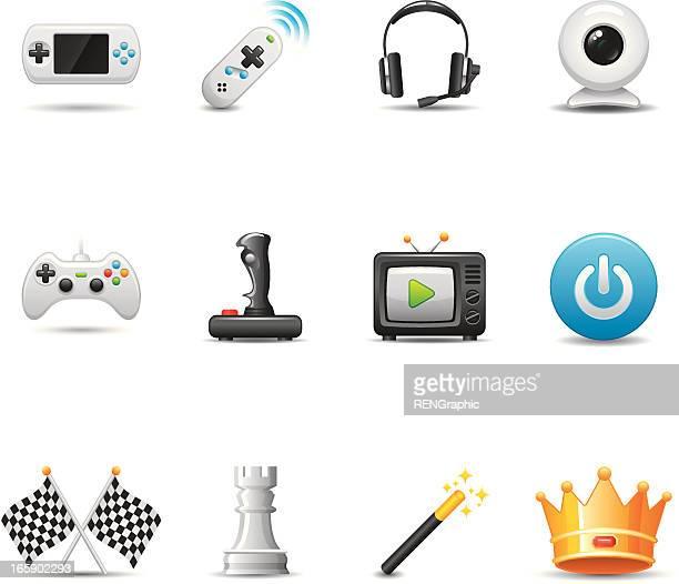 video game icon set   elegant series - joystick stock illustrations, clip art, cartoons, & icons