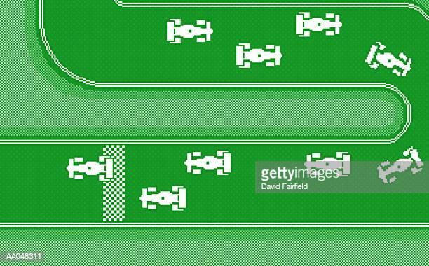 ilustrações de stock, clip art, desenhos animados e ícones de video game race track, overhead view - pista de atletismo