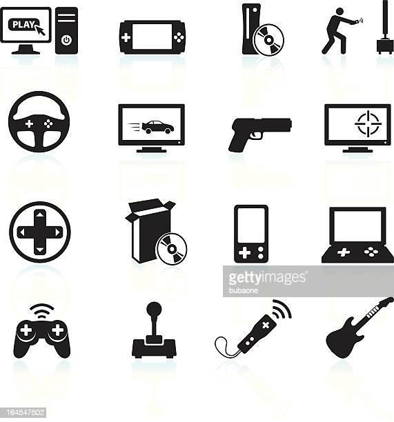 video games and entertainment black & white vector icon set - trigger stock illustrations