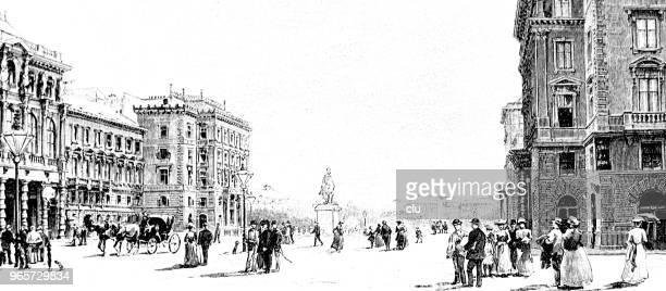 vienna - austria, schwarzenbergplatz - 19th century stock illustrations, clip art, cartoons, & icons