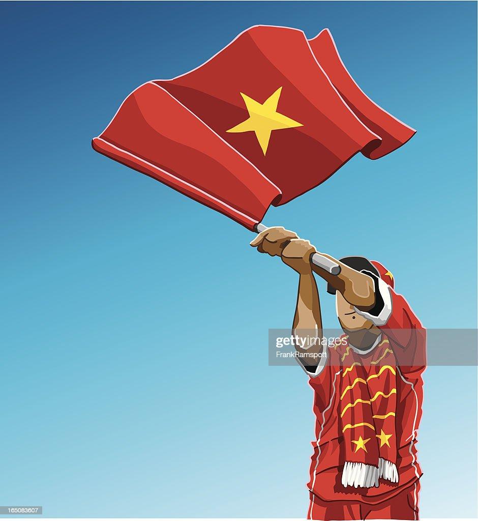 Vietnam winken Flagge Fußball-Fan : Stock-Illustration