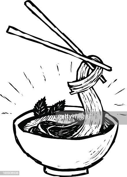 vietnamese pho - pho soup stock illustrations