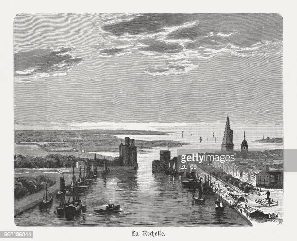 vieux-port de la rochelle, france, wood engraving, published 1897 - bay of biscay stock illustrations, clip art, cartoons, & icons
