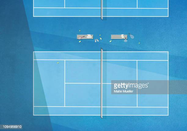 view from above blue tennis court - tennis stock illustrations