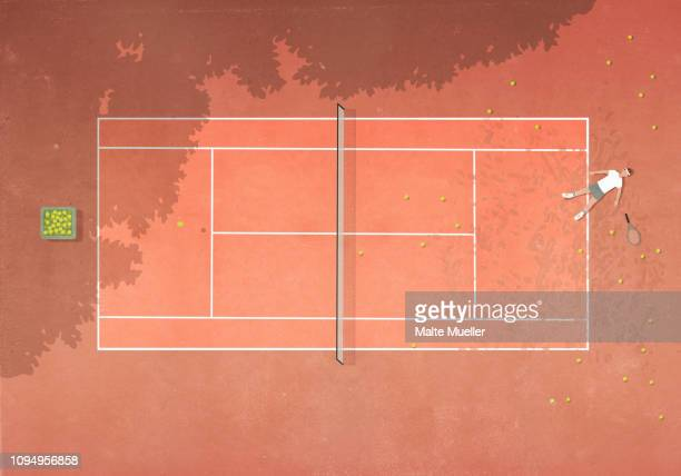 view from above defeated man laying on clay tennis court surrounded by tennis balls - surrounding stock illustrations, clip art, cartoons, & icons