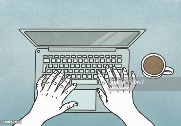view from above hands typing at laptop - social media stock illustrations