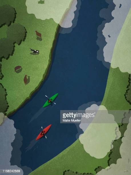 view from above kayakers on idyllic river - aquatic sport stock illustrations