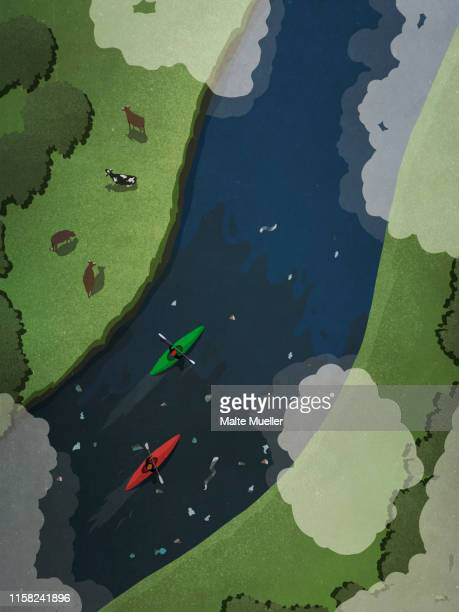 view from above kayakers on polluted river - water pollution stock illustrations